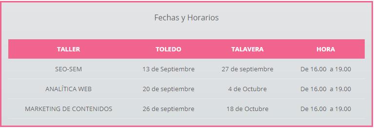 Horario talleres gratuitos presenciales Toledo y Talavera